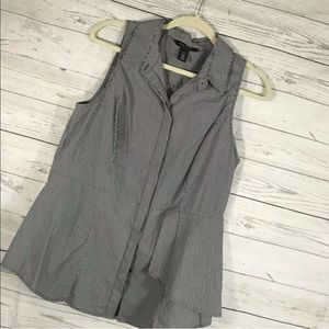 WHBM Shirt Gray White Stripe Sleeveless Tank 14